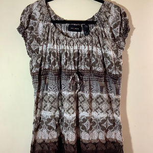 Axcess Batik Print Peasant Top SZ L